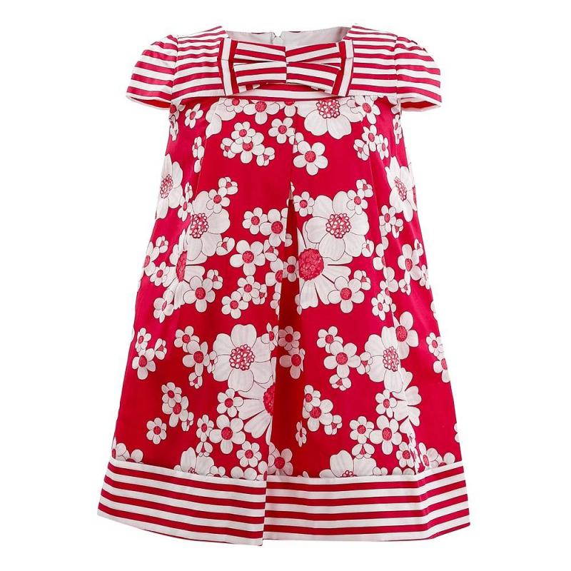ПлатьеПлатье малинового цвета марки Mayoral.<br>Летнее хлопковое платье на подкладке украшено цветочным принтом, а также полосками и бантом. Модель застегивается на потайную молнию на спинке.<br><br>Размер: 9 месяцев<br>Цвет: Малиновый<br>Рост: 74<br>Пол: Для девочки<br>Артикул: 646100<br>Бренд: Испания<br>Страна производитель: Марокко<br>Сезон: Весна/Лето<br>Состав: 100% Хлопок<br>Состав подкладки: 65% Полиэстер, 35% Хлопок<br>Вид застежки: Молния