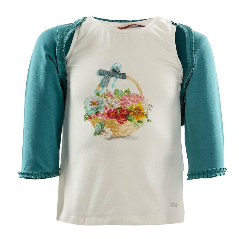 КомплектКомплект майка+болеро бирюзовогоцвета марки Mayoral для девочек.<br>Набор состоит из хлопковой майки молочного цвета и болеро. Майка украшена изображением корзинки с цветами, а также бантиком и стразами. Болеро с рукавом 3/4 декорировано милыми рюшами.<br><br>Размер: 8 лет<br>Цвет: Бирюзовый<br>Рост: 128<br>Пол: Для девочки<br>Артикул: 646958<br>Страна производитель: Китай<br>Сезон: Весна/Лето<br>Состав: 95% Хлопок, 5% Эластан<br>Бренд: Испания