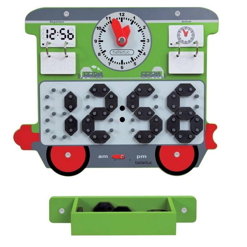 Настенный игровой элемент ВремяНастенный игровой элемент ВремямаркиBeleduc.<br>Функции элемента: движение стрелок аналоговых часов, карточки с изображением времени с подсказками для проверки, стрелка с указанием утренних и вечерних часов, наличие экрана с цифровым таймером.<br>Материал: дерево.<br><br>Возраст от: 3 года<br>Пол: Не указан<br>Артикул: 657059<br>Страна производитель: Китай<br>Бренд: Германия<br>Размер: от 3 лет<br>Материал: Дерево