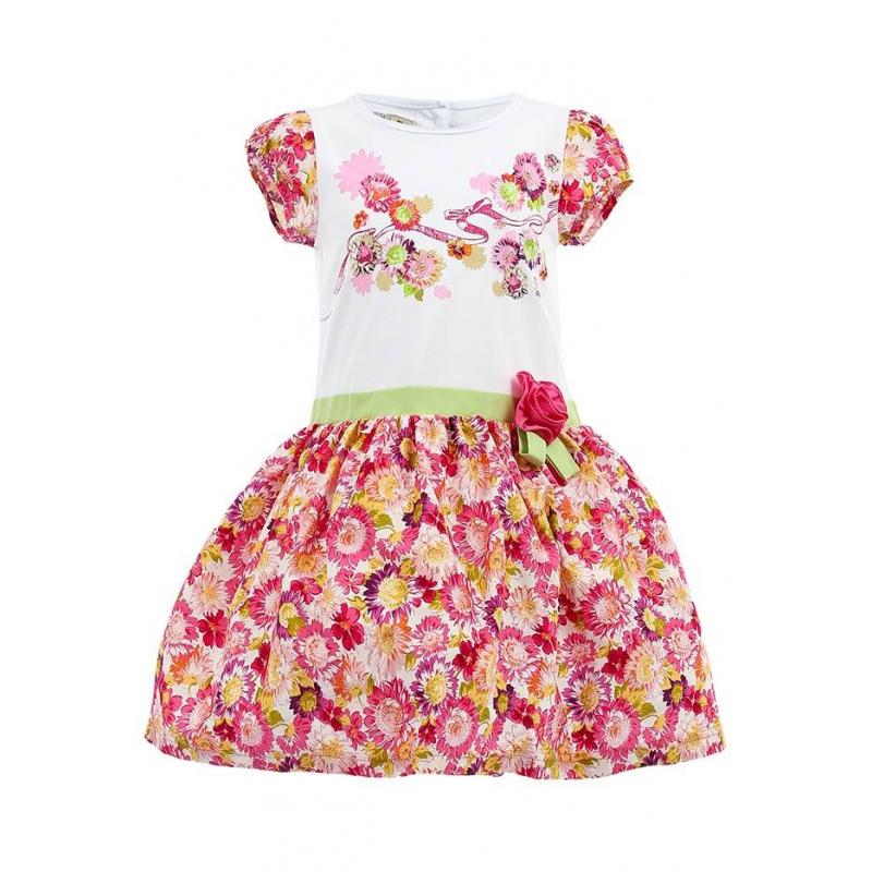 ПлатьеПлатье из комбинированной ткани на хлопковой подкладке с сеткой. Закрытые плечи, белый верх с цветочным рисунком, зеленый поясок декорированный объемным цветком, юбка, расцвеченная розовыми цветами.<br><br>Размер: 4 года<br>Цвет: Розовый<br>Рост: 104<br>Пол: Для девочки<br>Артикул: 002038<br>Страна производитель: Таиланд<br>Сезон: Весна/Лето<br>Коллекция: Весна/Лето 2014<br>Состав: 95% Хлопок, 5% Спандекс