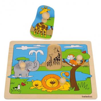 Игрушки, Развивающий пазл Африка 4 детали Beleduc 657067, фото