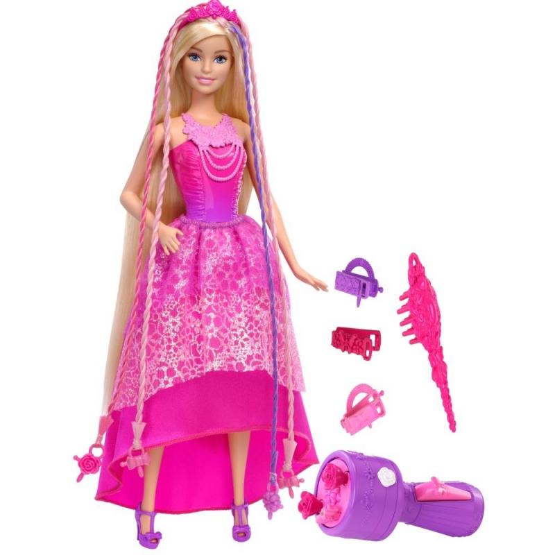 Кукла-принцесса Barbie с волшебными волосамиКукла-принцесса Barbie с волшебными волосами марки Mattel.<br>Принцесса с роскошными волосами одета в шикарноеплатье в розово-фиолетовой расцветке. Юбка украшена нежной кружевной вставкой с блетсками. Образ дополняют туфельки на каблуке в тон, диадема и ожерелье. В комплекте идут заколки для волос, расческа, а также специальный прибордля заплетания кос.Нужно вставить пряди с бусинами в это устройство, и волосыбудутзаплетены в красивую косу.<br><br>Возраст от: 3 года<br>Пол: Для девочки<br>Артикул: 639645<br>Страна производитель: Китай<br>Бренд: США<br>Лицензия: Barbie<br>Размер: от 3 лет