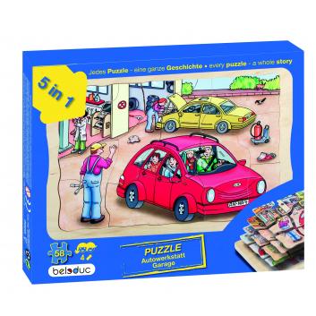 Игрушки, Развивающий пазл Автомастерская 58 деталей Beleduc 657081, фото