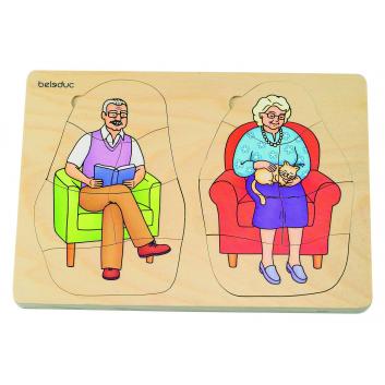 Игрушки, Развивающий пазл Дедушка и бабушка 40 деталей Beleduc 657085, фото