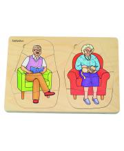 Развивающий пазл Дедушка и бабушка 40 деталей Beleduc