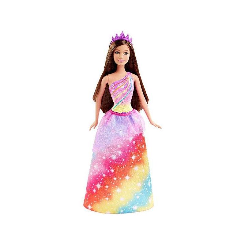 Кукла-принцесса BarbieКукла-принцесса Barbieмарки Mattel.<br>Кукла-принцесса одета в роскошное платьев радужной расцветке. Атластное платье декорировано сияющими блестками. Шикарный образ принцесы завершают туфли на высоком каблуке и диадема.<br><br>Возраст от: 3 года<br>Пол: Для девочки<br>Артикул: 647455<br>Бренд: США<br>Страна производитель: Китай<br>Лицензия: Barbie<br>Размер: от 3 лет