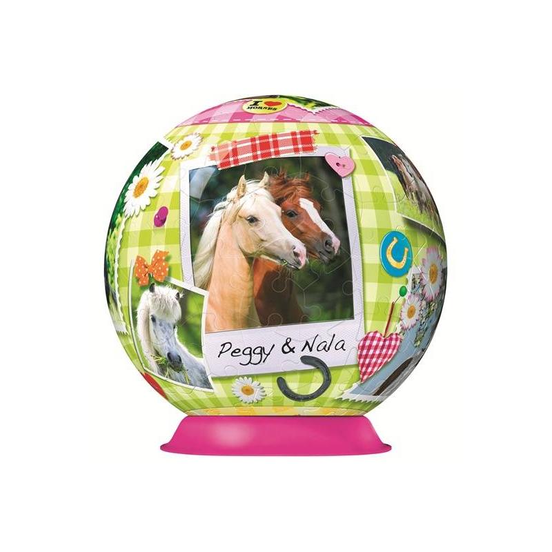 3D Пазл Мои любимые лошади 108 деталей3D Пазл Мои любимые лошади108 деталеймаркиRavensburger.<br>Этот необычный 3D пазл станет замечательным подарком ребенку. Благодаря особой форме деталей, собирать его очень легко, а в итоге получается красивый объемный шар, который может стать оригинальным украшением детской комнаты.<br>Для сборки не нужен клей: благодаря своей форме кусочки картинки отлично соединяются между собой. Собранный пазл представляет собой шар диаметром 15 см. с яркой картинкой. Детали пронумерованы с обратной стороны, чтобы собирать картинку было еще легче. К тому же играть с этим пазлом не только весело, но и полезно: ребенок будет развивать мелкую моторику, внимательность, пространственное мышление.<br><br>Возраст от: 7 лет<br>Пол: Для девочки<br>Артикул: 653186<br>Бренд: Германия<br>Размер: от 7 лет<br>Количество деталей: от 101 до 200<br>Тематика: Животные