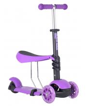 Самокат-беговел со светящимися колесами Black Aqua