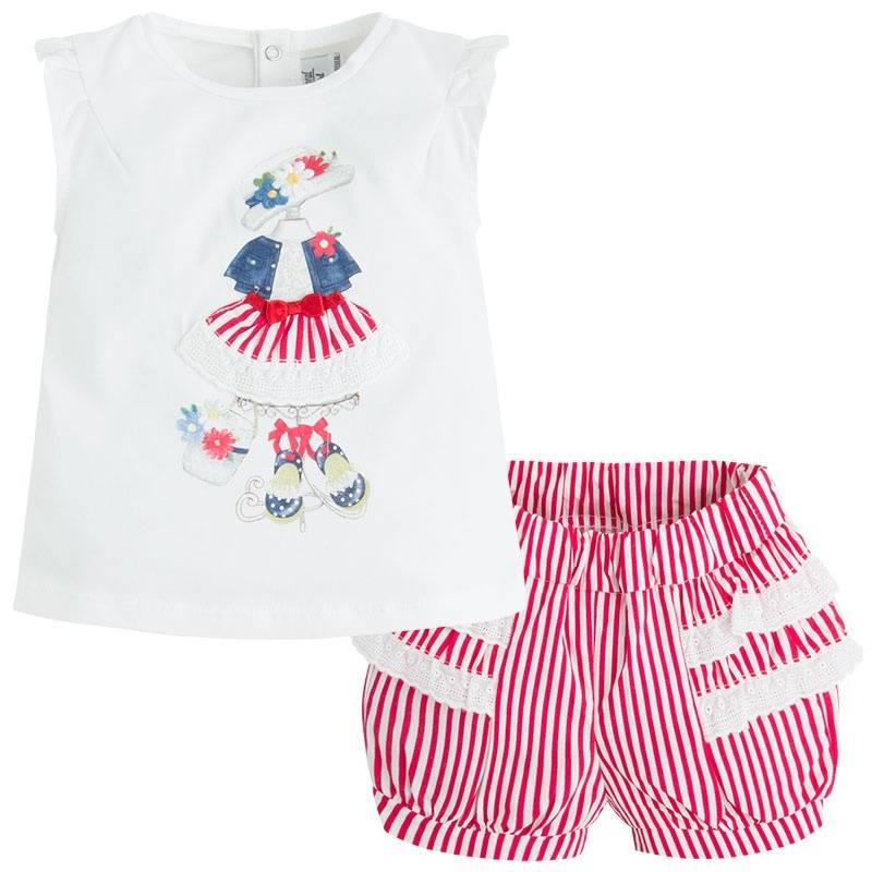 КомплектКомплект красногоцвета марки Mayoral для девочек.<br>Комплект состоит из хлопковых шортиков и футболки. Шортики на широкой регулируемой резинке украшены белыми полосками и рюшами. Футболка ч рукавами-крылышками декорирована принтом с изображением стильного летнего образа. На спинке имеются кнопки для удобства переодевания малышки.<br><br>Размер: 18 месяцев<br>Цвет: Красный<br>Рост: 86<br>Пол: Для девочки<br>Артикул: 647387<br>Страна производитель: Португалия<br>Сезон: Весна/Лето<br>Состав верха: 92% Хлопок, 8% Эластан<br>Состав низа: 100% Хлопок<br>Бренд: Испания<br>Вид застежки: Кнопки