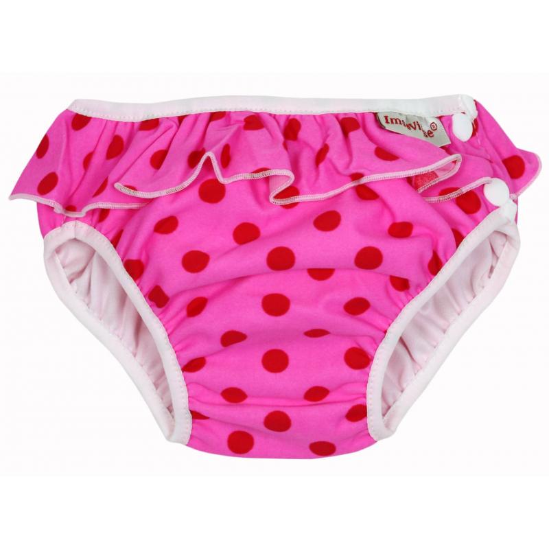 Трусики для купания Pink dots frillТрусики для купания Pink dots frill малиновогоцвета маркиImseVimse для девочек.<br>Гигиенические трусики-подгузники - это лучшая защита от непредвиденных ситуаций в воде. Благодаря дышащему материалу они удерживают внутри детский стул и надёжно защищают от протеканий. К тому же трусики не разбухают в воде, что очень важно для свободы движения малыша. Они идеально сидят на ребёнке, не стесняя его активных движений в воде. С подгузниками для купания Вы можете быть уверены: во время плавания крохе будет комфортно, а окружающих ничто не побеспокоит. Модель дополнена кнопками сбоку, с помощью которых даже мокрые плавки легко снять и надеть.<br>Трусики украшены принтом в красныйгорошек, милыми рюшами, а также логотипом бренда.<br>Изделие выполнено из экологически чистых материалов:<br>внешняя часть – 80% полиамид, 20% эластан;внутренняя часть - 100% ламинированная ткань PUL (полиуретан).<br><br>Цвет: Малиновый<br>Вес: 13-17 кг<br>Пол: Для девочки<br>Артикул: 657177<br>Страна производитель: Латвия<br>Бренд: Швеция<br>Размер: Без размера