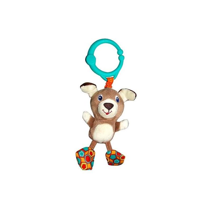 Подвеска СобачкаПодвеска Собачка серии Дрожащий дружок марки Bright Starts.<br>Развивающая игрушка украшена милой собачкой, которая порадует вашегомалыша. Нужно только потянуть за игрушку и она задрожит. Текстурная подвеска, приятная на ощупь, легко крепится на коляску, кроватку, развивающий коврик при помощи удобного кольца.<br><br>Возраст от: 0 месяцев<br>Пол: Не указан<br>Артикул: 653270<br>Бренд: США<br>Размер: от 0 месяцев