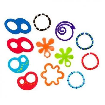 Игрушки, Набор прорезывателей Забавные колечки 12 шт Oball 653313, фото