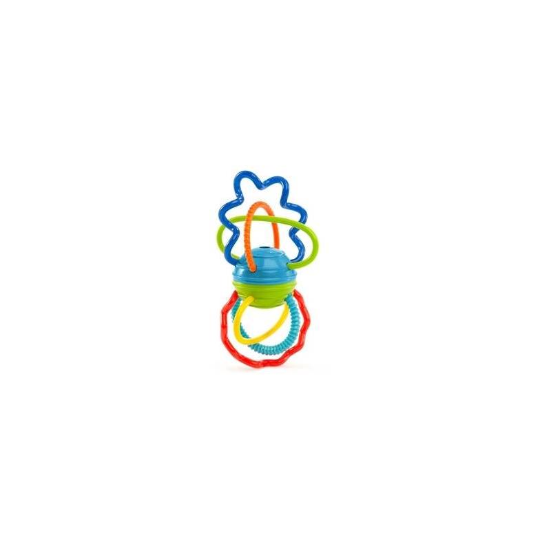 Развивающая игрушка Разноцветная гантелькаРазвивающая игрушка Разноцветная гантелька марки Oball для малышей.<br>Яркие спиральки и дуги разной длины и формы легко гнутся, развивают тактильные ощущения и зрение. Рельефные поверхности для кусания успокоят нежные десны малыша. При вращении деталей шарика в центре игрушка забавно трещит благодаря щелкающему механизму. Игрушку легко братьмаленькими ручками.<br>Размер:15х8х9 см.<br><br>Возраст от: 0 месяцев<br>Пол: Не указан<br>Артикул: 653314<br>Страна производитель: Китай<br>Бренд: США<br>Размер: от 0 месяцев