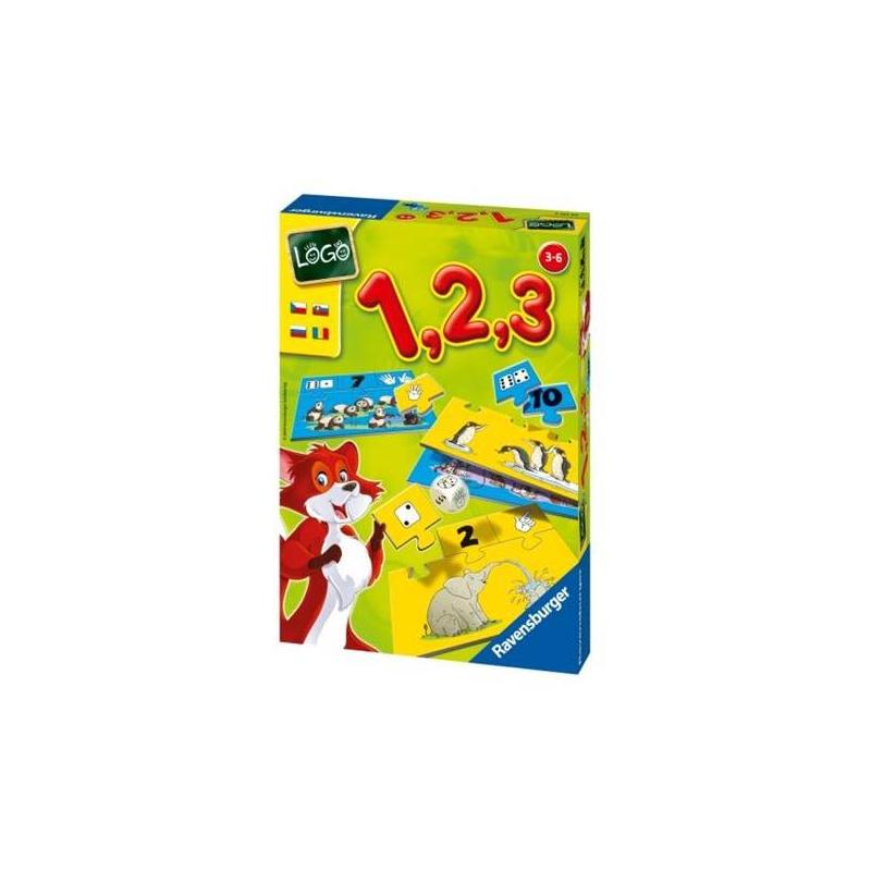 Настольная игра Лого 1, 2, 3Настольная игра Лого 1, 2, 3 марки Ravensburger.<br>Познавательная и развивающая игра. Малыш научится самостоятельно считать. Узнает, как числа могут быть представлены с помощью цифр, очков кубика или пальцев. Тот, кто первым соберет подходящие карточки, на которых изображены очки кубика, цифры и пальцы, и присоединит их к картинке, становится победителем.<br>Количество игроков: 1–4<br>Продолжительность игры: 10–15 минут<br>Комплектация: 10 карточек-картинок с определенным количеством предметов, 10 карточек со стороной игрального кубика – очки, 10 карточек с пальчиками, 10 карточек с цифрами, игральный кубик с символами – очки, пальцы и цифры.<br>Игра развивает навыки счета, речь и навыки общения.<br><br>Возраст от: 3 года<br>Пол: Не указан<br>Артикул: 653363<br>Бренд: Германия<br>Размер: от 3 лет