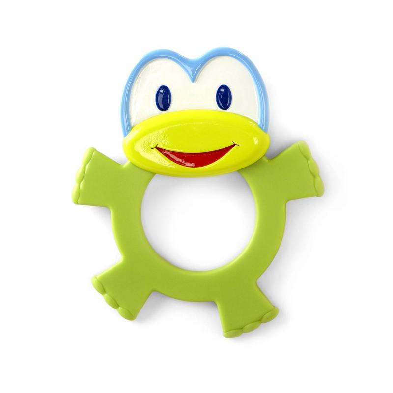 Прорезыватель ЛягушонокПрорезыватель Лягушонок марки Bright Starts.<br>Развивающая игрушка-прорезыватель помогает снять боль в период роста зубов. Модель 2 в 1: одновременно игрушка и прорезыватель. Он не только успокоит десна малыша, но и развлечет его приятными звуками, когда ребенок будет его трясти. Удобная игрушка с милым и ярким дизайном.<br>Размер: 11х2х13 см.<br><br>Возраст от: 3 месяца<br>Пол: Не указан<br>Артикул: 653208<br>Бренд: США<br>Размер: от 3 месяцев