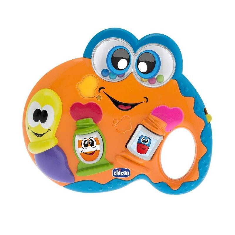 Музыкальная ПалитраМузыкальная игрушка Палитра маркиChicco.<br>Забавная электронная игрушка позволит вашему малышу окунуться в мир искусства. Когда ребенок нажмет на тюбики с краской, то активирует забавные мелодии и огоньки. Музыкальная палитра способствует развитию мелкой моторики и координации движений.<br><br>Возраст от: 6 месяцев<br>Пол: Не указан<br>Артикул: 653468<br>Бренд: Италия<br>Размер: от 6 месяцев