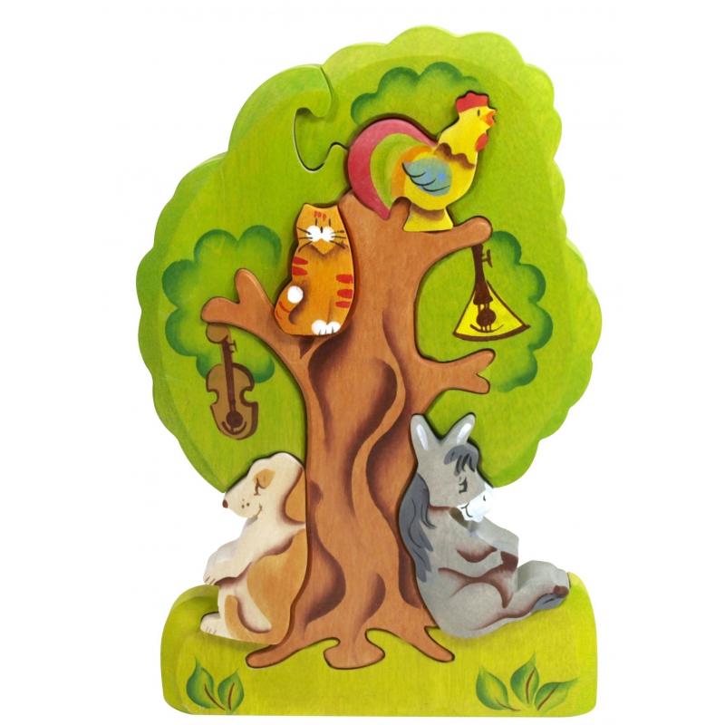 Сказки дерева Пирамидка Бременские музыканты на дереве фигурки игрушки prostotoys король бременские музыканты