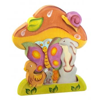 Игрушки, Пирамидка Под грибом Сказки дерева 647547, фото