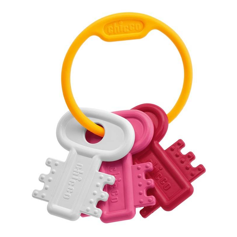 Погремушка Ключи на кольцеПогремушка Ключи на кольце розового цвета маркиChicco.<br>Удобная для маленьких ручек яркая погремушка, в форме трех ключиков на кольце, развеселит и увлечет малышку.<br><br>Цвет: Розовый<br>Возраст от: 3 месяца<br>Пол: Для девочки<br>Артикул: 653512<br>Бренд: Италия<br>Размер: от 3 месяцев
