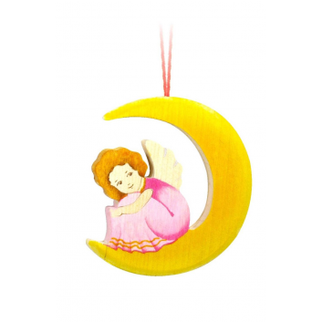 Игрушки, Подвеска Ангел на луне Сказки дерева (розовый)647928, фото