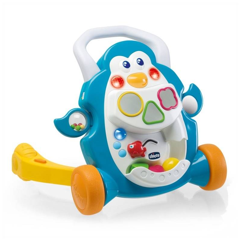 Игровой центр Ходунки ПингвинИгровой центр ХодункиПингвин маркиChicco.<br>Музыкальные ходунки помогают малышу делать свои первые шаги весело и в полной безопасности. Ребенок толкает игрушку и тут же включается забавная мелодия, которая прекращается, как только ребенок останавливается, что побуждает его сделать еще несколько шагов. Это также развлекательный центр с различными играми, лампочками и звуковыми эффектами.<br><br>Возраст от: 9 месяцев<br>Пол: Не указан<br>Артикул: 653516<br>Бренд: Италия<br>Размер: от 9 месяцев