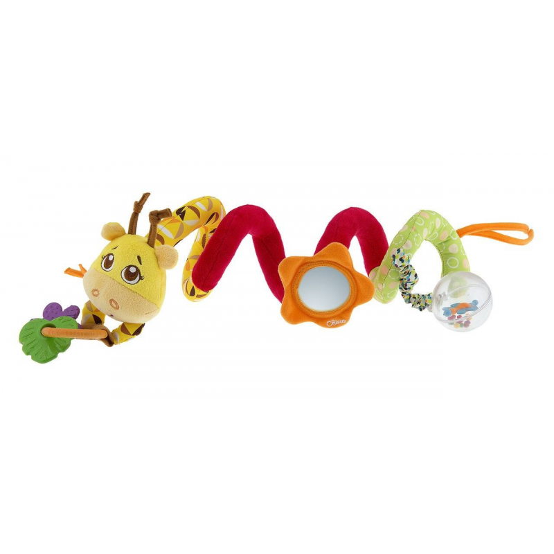 Игрушка для коляски Джунгли на прогулкеИгрушка для коляски Джунгли на прогулке маркиChicco.<br>Разноцветная игрушка для коляски имеет зеркальце, кольцо с подвесками из мягкого пластика, а также вращающийся шарик с цветными шарами внутри и бабочкой, которая издает смешные звуки. Милый жирафик легко крепится к бамперу коляски и подарит малышу море радости и веселья.<br><br>Возраст от: 6 месяцев<br>Пол: Не указан<br>Артикул: 653532<br>Бренд: Италия<br>Размер: от 6 месяцев