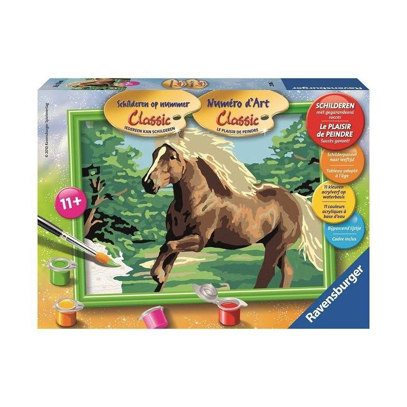 Картина по номерам Лошадь в полеКартина по номерам Лошадь в поле марки Ravensburger.<br>В наборе: пронумерованное полотно (картон),комплект акриловых красок,кисть,рамка для будущей картины,палитра-подставка для красок,инструкция.<br>Размер картинки: 13х18 см.<br><br>Возраст от: 9 лет<br>Пол: Не указан<br>Артикул: 653554<br>Бренд: Германия<br>Размер: от 9 лет