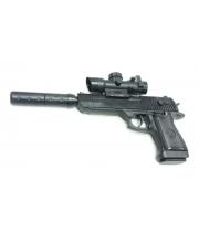 Пистолет пневматический с прицелом и глушителем