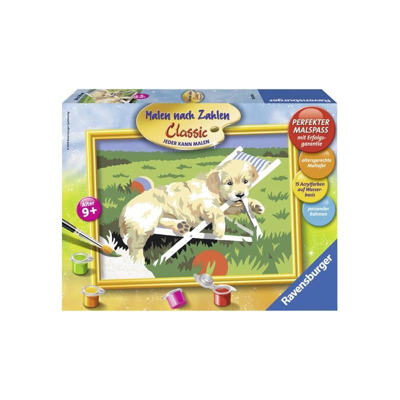 RAVENSBURGER Картина по номерам Щенок Ретривера наборы для рисования ravensburger раскрашивание по номерам кролик в ромашках размер картинки