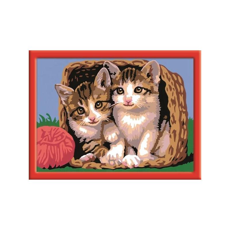RAVENSBURGER Картина по номерам Котята в корзине