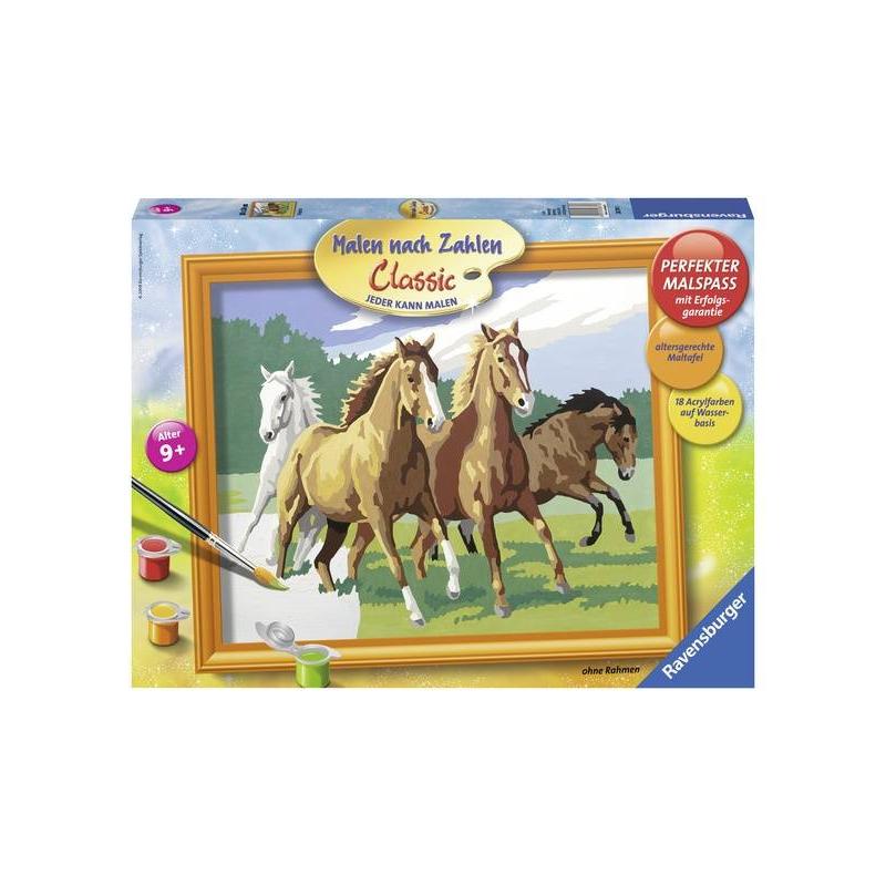 Картина по номерам Дикие лошадиКартина по номерам Дикие лошади марки Ravensburger.<br>В наборе: пронумерованное полотно (картон),комплект акриловых красок,кисть,рамка для будущей картины, палитра-подставка для красок.<br>Размер картинки: 30х24 см.<br><br>Возраст от: 9 лет<br>Пол: Не указан<br>Артикул: 653579<br>Бренд: Германия<br>Размер: от 9 лет