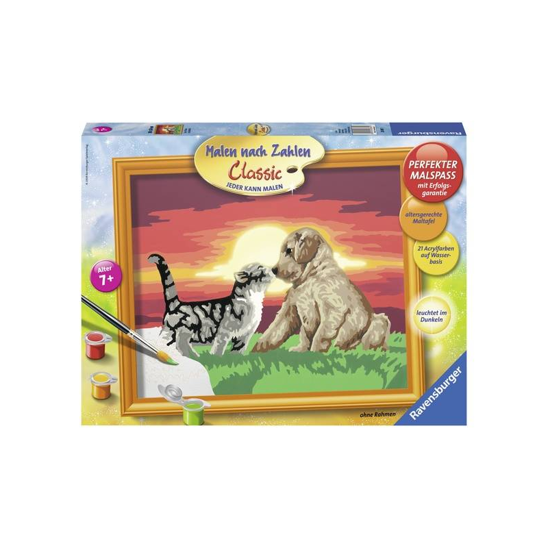 RAVENSBURGER Картина по номерам Котенок и щенок егерь последний билет в рай котенок