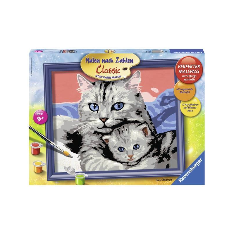 RAVENSBURGER Картина по номерам Кошка с котенком