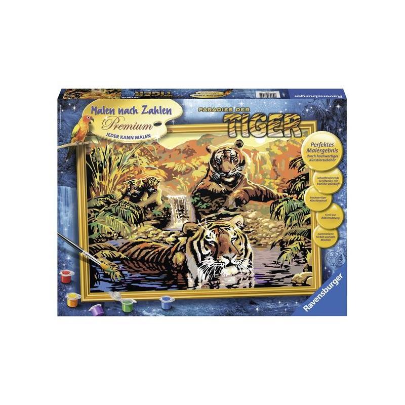 Картина по номерам ТигрыКартина по номерам Тигры марки Ravensburger.<br>В наборе: пронумерованное полотно (картон),комплект акриловых красок,кисть, палитра-подставка для красок.<br>Размер картинки: 40х30 см.<br><br>Возраст от: 14 лет<br>Пол: Не указан<br>Артикул: 653585<br>Бренд: Германия<br>Размер: от 14 лет