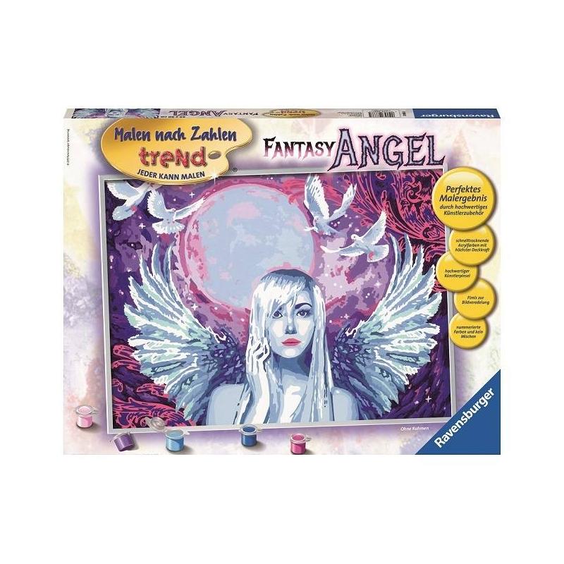 Картина по номерам Фантастический ангелКартина по номерам Фантастический ангел марки Ravensburger.<br>В наборе: пронумерованное полотно (картон),комплект акриловых красок,кисть,рамка для будущей картины,палитра-подставка для красок,инструкция.<br>Размер картинки: 30х40 см.<br><br>Возраст от: 14 лет<br>Пол: Не указан<br>Артикул: 653588<br>Бренд: Германия<br>Размер: от 14 лет
