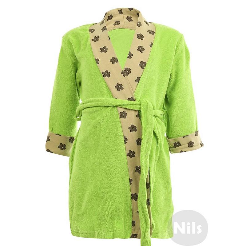 ХалатХлопковый халат зеленого цвета марки PELICAN для девочек. Махровый халат с поясом выполнен из стопроцентного хлопка и украшен отделкой из хлопкового трикотажа в цветочек.<br><br>Размер: 2 года<br>Цвет: Зеленый<br>Рост: 92<br>Пол: Для девочки<br>Артикул: 605748<br>Страна производитель: Китай<br>Сезон: Всесезонный<br>Состав: 100% Хлопок<br>Бренд: Россия
