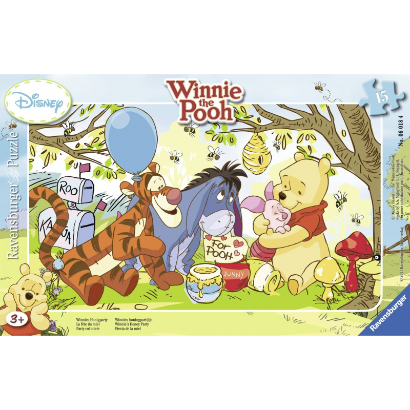 Пазл Винни-Пух и медПазл Винни-Пух и мед марки Ravensburger.<br>Включает 15элементов.<br>Размер картинки: 25х14,5 см.<br><br>Возраст от: 3 года<br>Пол: Не указан<br>Артикул: 653625<br>Бренд: Германия<br>Лицензия: Disney<br>Размер: от 3 лет