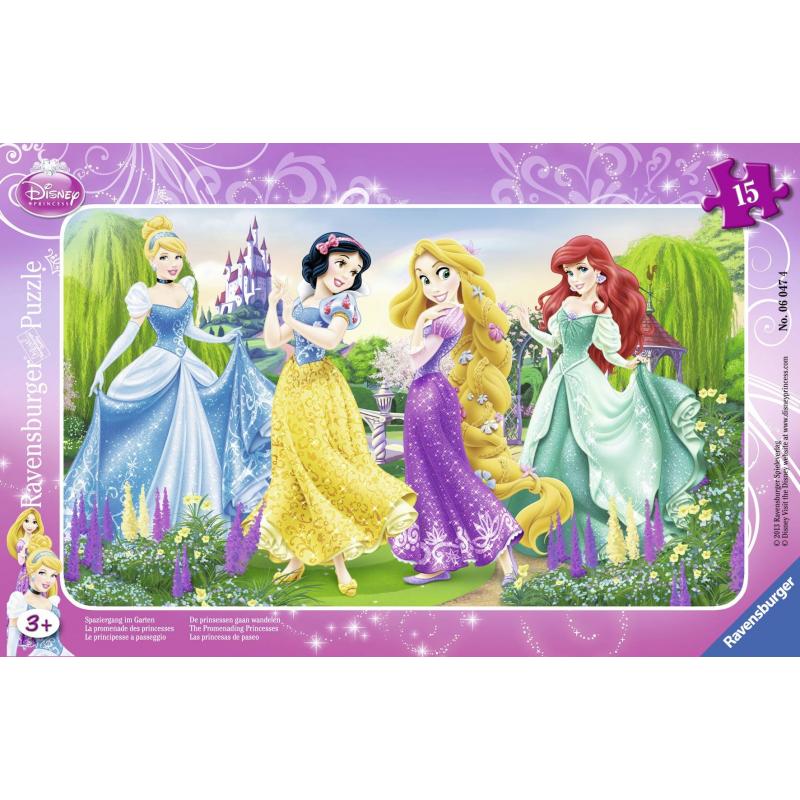 Пазл Принцессы на прогулкеПазл Принцессы на прогулке марки Ravensburger для девочек.<br>Включает 15элементов.<br>Размер картинки: 25х14,5 см.<br><br>Возраст от: 3 года<br>Пол: Для девочки<br>Артикул: 653633<br>Бренд: Германия<br>Лицензия: Disney<br>Размер: от 3 лет