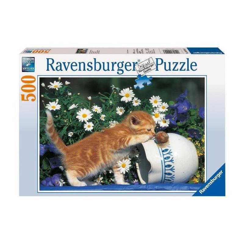 RAVENSBURGER Пазл Любопытный котенок 500 деталей белый медвежонок и котенок пазл 150 элементов