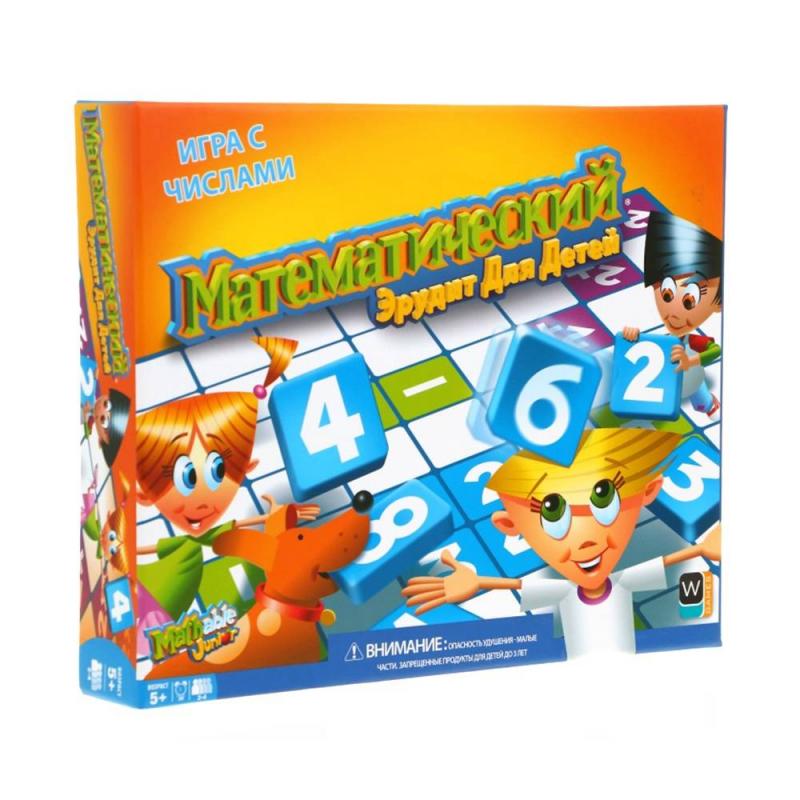 Настольная игра Математический эрудит для детейНастольная игра Математический эрудитдля детей маркиMathable.<br>Настольная игра поможет провести свободное время в кругу друзей и родных весело, а также полезно.В игре могут принимать участие от 2 до 4 человек. Победителем игры становится тот, у кого максимальное количество очков. Играя в Математический эрудит ребенок тренируется в арифметике, учится мыслить логически. Обучение в процессе игры всегда проходит быстрее и увлекательнее.<br>Рекомендованодля детей от 5 лет.<br>Комплектация: игровая доска,4подставки под фишки, 60 фишек счислами, инструкция.<br><br>Возраст от: 5 лет<br>Пол: Не указан<br>Артикул: 658118<br>Бренд: Канада<br>Размер: от 5 лет