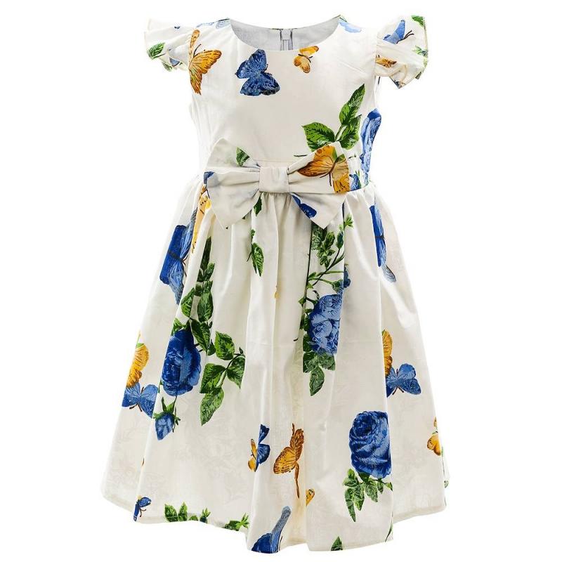 ПлатьеПлатье синегоцвета марки Flobaby.<br>Стильное платье выполнено из чистого хлопка и застегивается на потайную молнию. Модель украшена нежным цветочным принтом и изображениями бабочек, а также дополнена рукавами-крылышками и элегантным бантиком на талии.<br><br>Размер: 7 лет<br>Цвет: Синий<br>Рост: 122<br>Пол: Для девочки<br>Артикул: 647945<br>Страна производитель: Россия<br>Сезон: Весна/Лето<br>Состав: 100% Хлопок<br>Бренд: Россия<br>Вид застежки: Молния