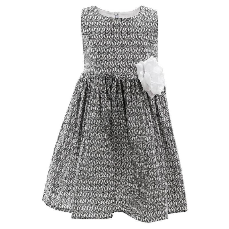 ПлатьеПлатье белогоцвета марки Flobaby.<br>Стильное платье выполнено из чистого хлопка и застегивается на потайную молнию. Модель белого цвета украшена оригинальным черным принтом и выгодно подчеркнута пышной юбочкой. Съемная брошь-цветок завершит модный образ.<br><br>Размер: 3 года<br>Цвет: Белый<br>Рост: 98<br>Пол: Для девочки<br>Артикул: 647937<br>Страна производитель: Россия<br>Сезон: Весна/Лето<br>Состав: 100% Хлопок<br>Бренд: Россия<br>Вид застежки: Молния