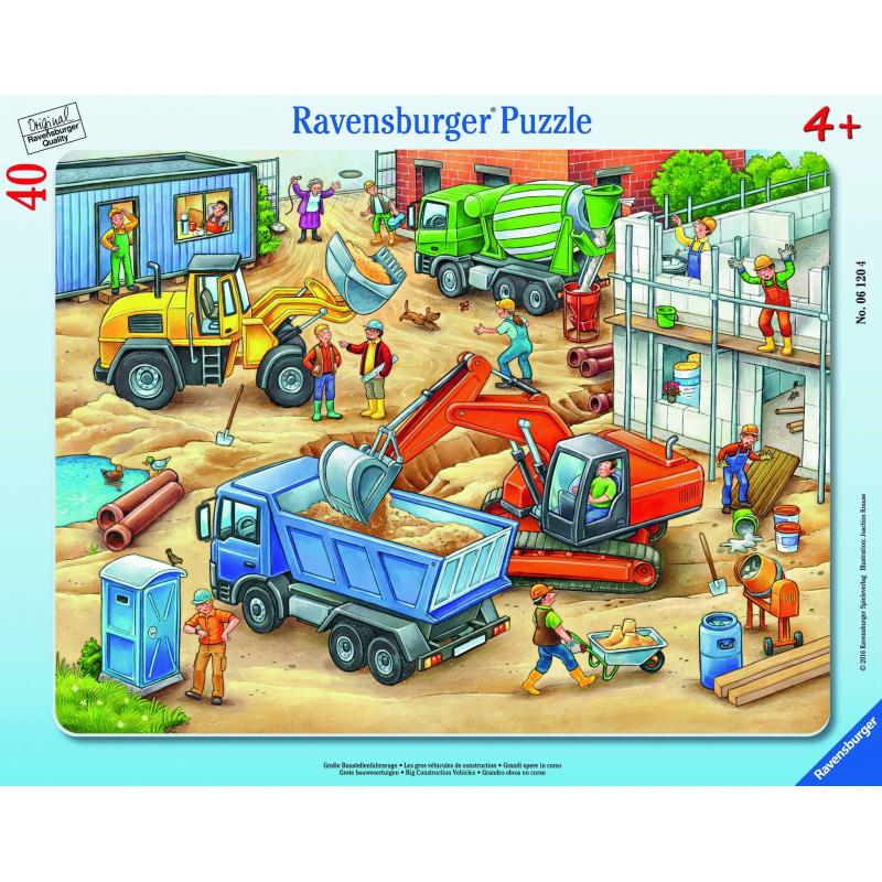 потрогай и узнай большие машины RAVENSBURGER Пазл Большие строительные машины 40 деталей