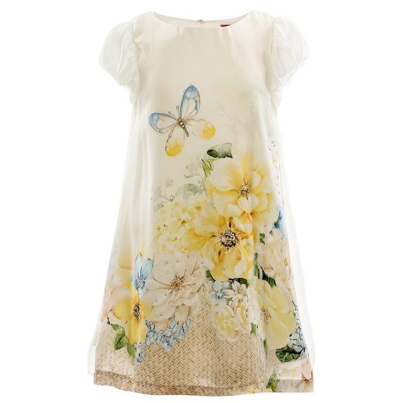 ПлатьеПлатье желтогоцвета марки Mayoral.<br>Нежное летнее платье на подкладке декорировано ярким цветочным принтом, россыпью страз, а также плиссированной вставкой на спинке. Модель застегивается на две пуговицы для удобства переодевания.<br><br>Размер: 9 лет<br>Цвет: Желтый<br>Рост: 134<br>Пол: Для девочки<br>Артикул: 647479<br>Страна производитель: Китай<br>Сезон: Весна/Лето<br>Состав: 100% Полиэстер<br>Бренд: Испания