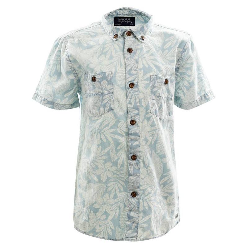 РубашкаРубашка голубогоцвета марки Mayoral длямальчиков.<br>Рубашка с коротким рукавом, отложным воротничком и двумя карманами выполнена из чистого хлопка. Модель декорирована стильным принтом белого цвета и выгодно подчеркнута пуговицами контрастного цвета.<br><br>Размер: 4 года<br>Цвет: Голубой<br>Рост: 104<br>Пол: Для мальчика<br>Артикул: 647426<br>Страна производитель: Индия<br>Сезон: Весна/Лето<br>Состав: 100% Хлопок<br>Бренд: Испания<br>Вид застежки: Пуговицы
