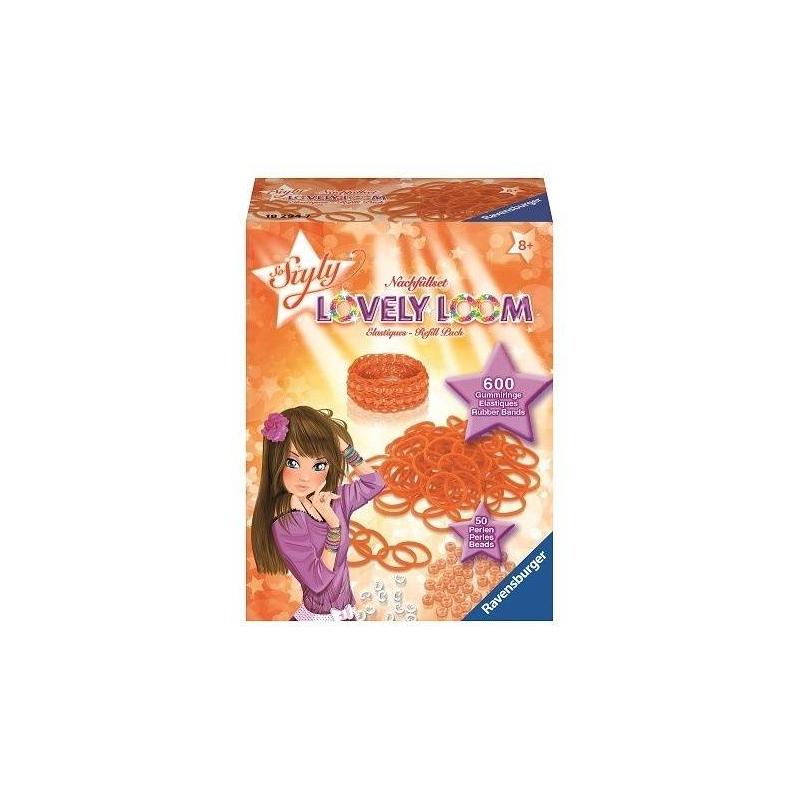 Набор резинок Lovely LoomНабор резинок для создания украшений Lovely Loom оранжевогоцвета маркиRavensburger.<br>Оригинальный набор для плетения браслетов. Юные модницы могут применить всю свою фантазию и воображение, создавая стильное украшение. С таким набором девочки без труда смогут развивать свои творческие способности, весело и с пользой проводя время.<br>В комплекте: 600 резинок, 50 бусин, 24 застежки.<br><br>Цвет: Оранжевый<br>Возраст от: 8 лет<br>Пол: Для девочки<br>Артикул: 654041<br>Бренд: Германия<br>Размер: от 8 лет