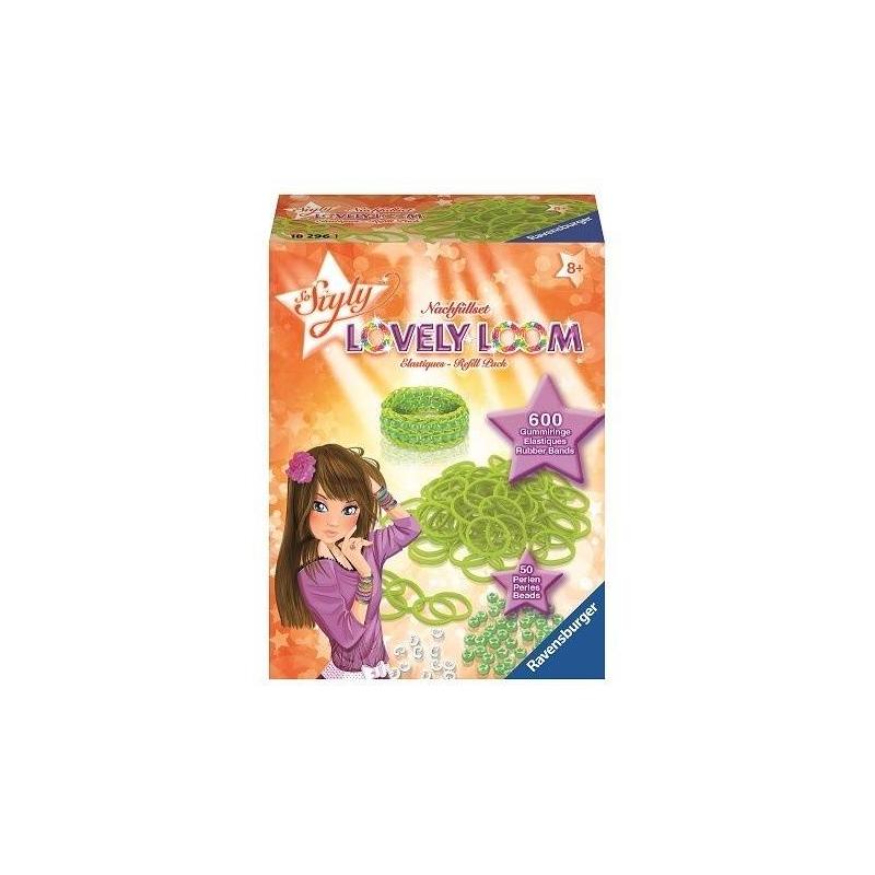 Набор резинок Lovely LoomНабор резинок для создания украшений Lovely Loom зеленогоцвета маркиRavensburger.<br>Оригинальный набор для плетения браслетов. Юные модницы могут применить всю свою фантазию и воображение, создавая стильное украшение. С таким набором девочки без труда смогут развивать свои творческие способности, весело и с пользой проводя время.<br>В комплекте: 600 резинок, 50 бусин, 24 застежки.<br><br>Цвет: Зеленый<br>Возраст от: 8 лет<br>Пол: Для девочки<br>Артикул: 654043<br>Бренд: Германия<br>Размер: от 8 лет