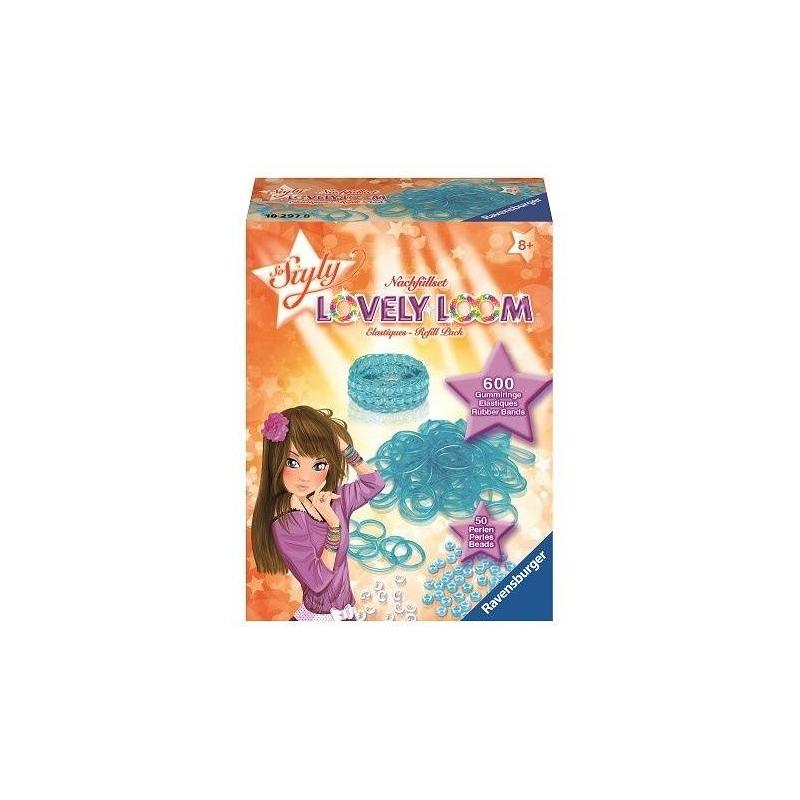 Набор резинок Lovely LoomНабор резинок для создания украшений Lovely Loom голубогоцвета маркиRavensburger.<br>Оригинальный набор для плетения браслетов. Юные модницы могут применить всю свою фантазию и воображение, создавая стильное украшение. С таким набором девочки без труда смогут развивать свои творческие способности, весело и с пользой проводя время.<br>В комплекте: 600 резинок, 50 бусин, 24 застежки.<br><br>Цвет: Голубой<br>Возраст от: 8 лет<br>Пол: Для девочки<br>Артикул: 654044<br>Бренд: Германия<br>Размер: от 8 лет