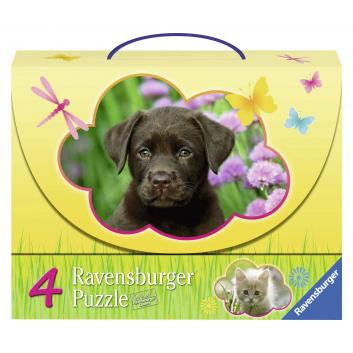 Игрушки, Пазл 4-в-1 Детеныши животных 122 детали RAVENSBURGER 653661, фото