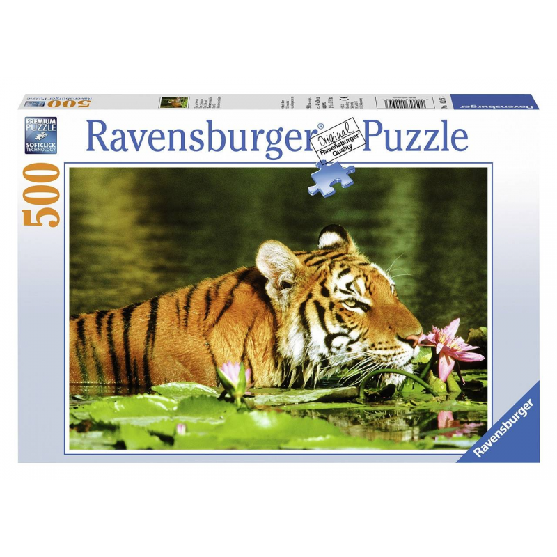 RAVENSBURGER Пазл Тигр в лилиях 500 деталей пазл 360 арт терапия тигр 02349